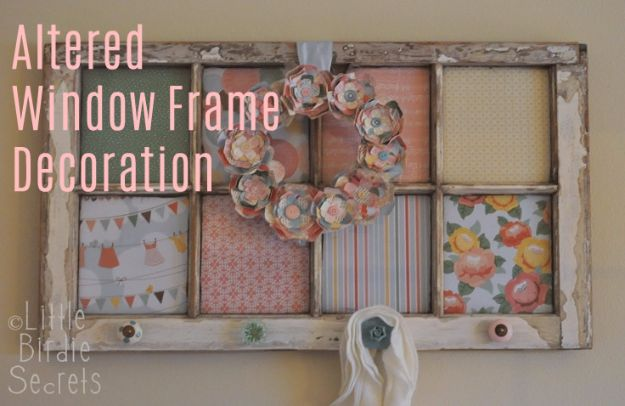 DIY Ideas With Old Windows - Altered Window Frame Decoration - Rustic Farmhouse Decor Tutorials and Projects Made With An Old Window - Easy Vintage Shelving, Coffee Table, Towel Hook, Wall Art, Picture Frames and Home Decor for Kitchen, Living Room and Bathroom - Creative Country Crafts, Seating, Furniture, Patio Decor and Rustic Wall Art and Accessories to Make and Sell http://diyjoy.com/diy-projects-old-windows
