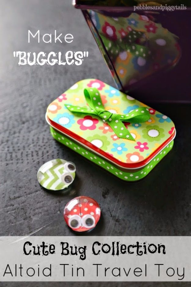 DIY Ideas for Kids To Make This Summer - Altoid Tin Reuse Buggles - Fun Crafts and Cool Projects for Boys and Girls To Make at Home - Easy and Cheap Do It Yourself Project Ideas With Paint, Glue, Paper, Glitter, Chalk and Things You Can Find Around The House - Creative Arts and Crafts Ideas for Children #summer #kidscrafts
