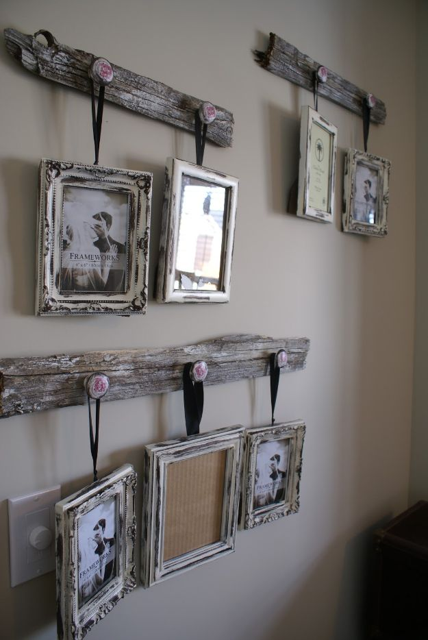 Best Country Decor Ideas - Antique Drawer Pull Picture Frame Hangers - Rustic Farmhouse Decor Tutorials and Easy Vintage Shabby Chic Home Decor for Kitchen, Living Room and Bathroom - Creative Country Crafts, Rustic Wall Art and Accessories to Make and Sell