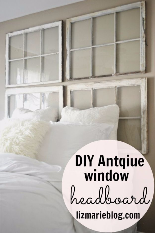 DIY Ideas With Old Windows - Antique Window Headboard - Rustic Farmhouse Decor Tutorials and Projects Made With An Old Window - Easy Vintage Shelving, Coffee Table, Towel Hook, Wall Art, Picture Frames and Home Decor for Kitchen, Living Room and Bathroom - Creative Country Crafts, Seating, Furniture, Patio Decor and Rustic Wall Art and Accessories to Make and Sell http://diyjoy.com/diy-projects-old-windows