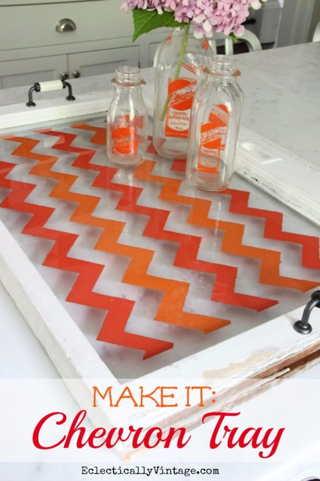 DIY Ideas With Old Windows - Antique Window Tray - Rustic Farmhouse Decor Tutorials and Projects Made With An Old Window - Easy Vintage Shelving, Coffee Table, Towel Hook, Wall Art, Picture Frames and Home Decor for Kitchen, Living Room and Bathroom - Creative Country Crafts, Seating, Furniture, Patio Decor and Rustic Wall Art and Accessories to Make and Sell http://diyjoy.com/diy-projects-old-windows