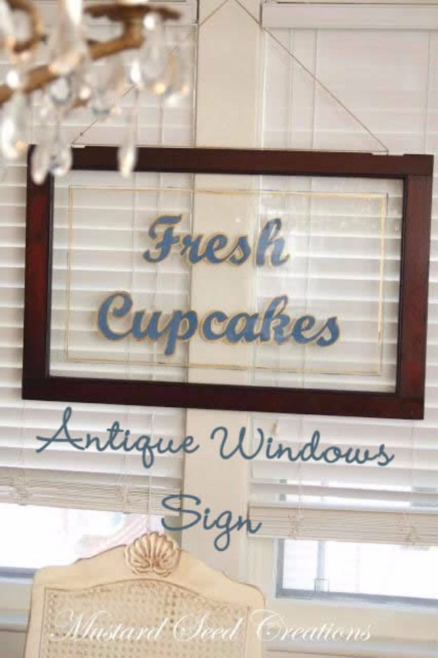 DIY Ideas With Old Windows - Antique Windows Sign - Rustic Farmhouse Decor Tutorials and Projects Made With An Old Window - Easy Vintage Shelving, Coffee Table, Towel Hook, Wall Art, Picture Frames and Home Decor for Kitchen, Living Room and Bathroom - Creative Country Crafts, Seating, Furniture, Patio Decor and Rustic Wall Art and Accessories to Make and Sell http://diyjoy.com/diy-projects-old-windows