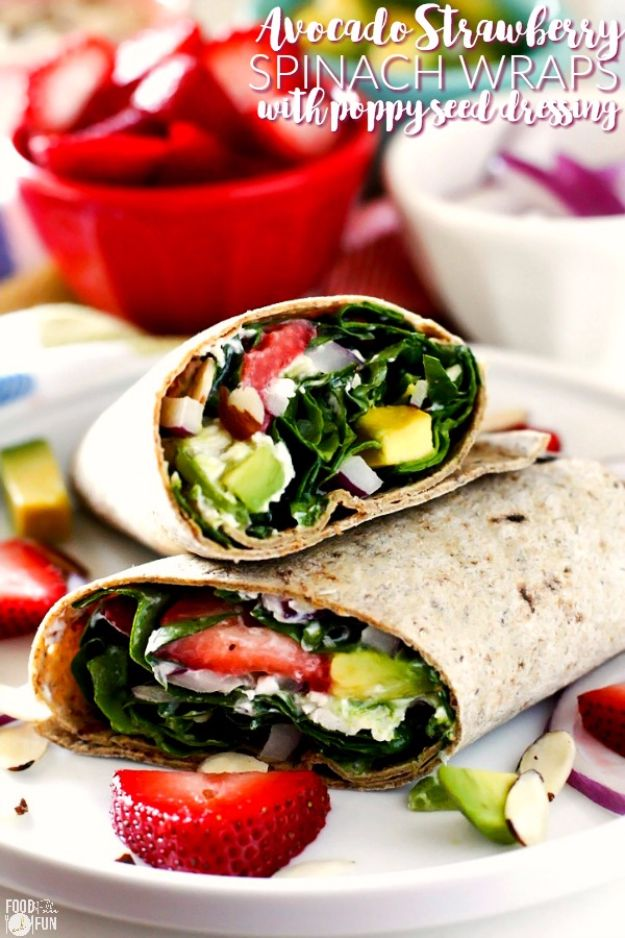 Best Recipe Ideas for Summer - Avocado Strawberry Spinach Wraps With Poppyseed Dressing - Cool Salads, Easy Side Dishes, Recipes for Summer Foods and Dinner to Beat the Heat - Light and Healthy Ideas for Hot Summer Nights, Pool Parties and Picnics http://diyjoy.com/best-recipes-summer