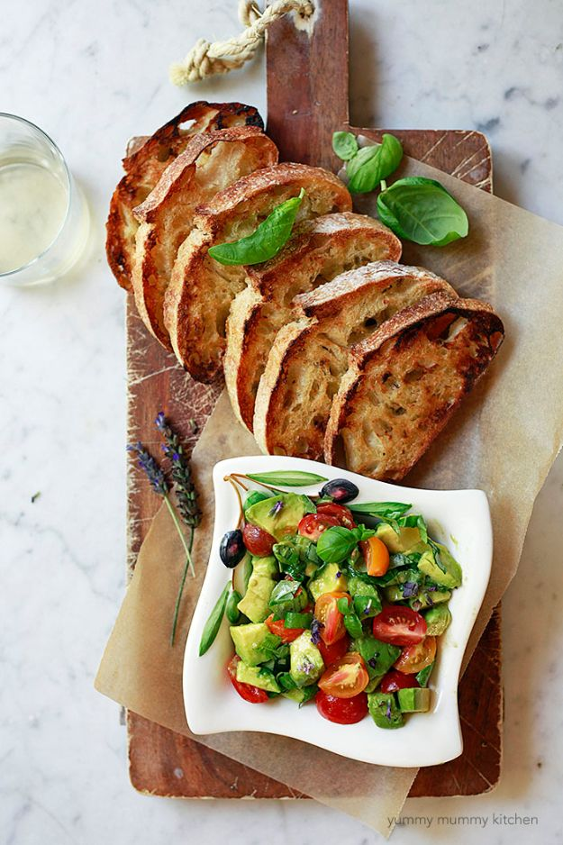 Best Recipe Ideas for Summer - Avocado Toast Bruschetta - Cool Salads, Easy Side Dishes, Recipes for Summer Foods and Dinner to Beat the Heat - Light and Healthy Ideas for Hot Summer Nights, Pool Parties and Picnics http://diyjoy.com/best-recipes-summer