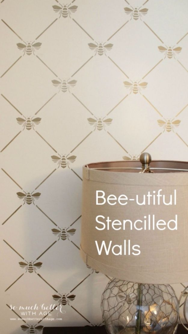 DIY Stencil Ideas - BEE-utiful Stencilled Wall - Cool and Easy Stenciling Tutorials For Making Handmade Wallpaper and Designs, Furniture Makeover Ideas and Crafty Modern Decor With Stencils - Rustic Farmhouse Paint Techniques and Step by Step Instructions for Using Stencil Art in Your Living Room, Bedroom, Bathroom and Crafts