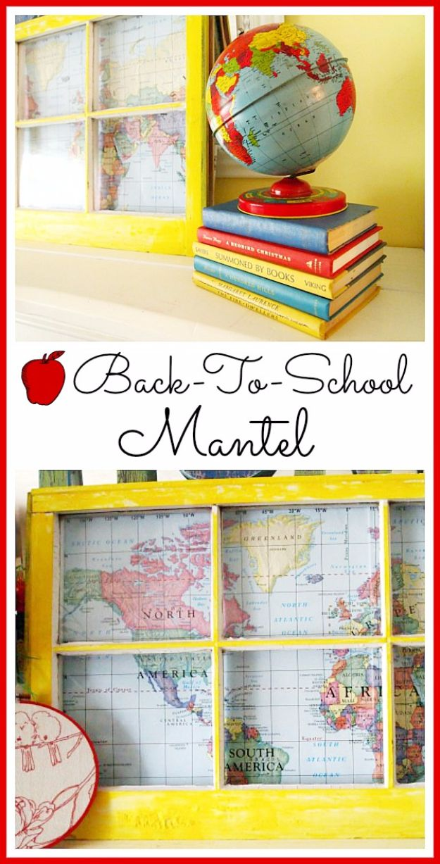 DIY Ideas With Old Windows - Back To School Mantel - Rustic Farmhouse Decor Tutorials and Projects Made With An Old Window - Easy Vintage Shelving, Coffee Table, Towel Hook, Wall Art, Picture Frames and Home Decor for Kitchen, Living Room and Bathroom - Creative Country Crafts, Seating, Furniture, Patio Decor and Rustic Wall Art and Accessories to Make and Sell http://diyjoy.com/diy-projects-old-windows