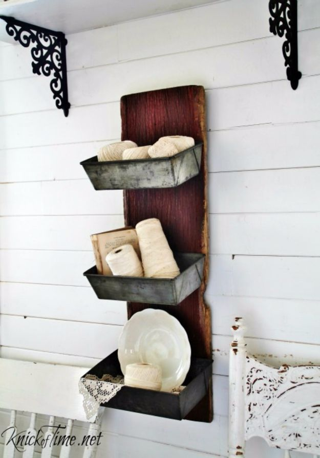 Best Country Decor Ideas - Barn Wood & Bread Tins Wall Bins - Rustic Farmhouse Decor Tutorials and Easy Vintage Shabby Chic Home Decor for Kitchen, Living Room and Bathroom - Creative Country Crafts, Rustic Wall Art and Accessories to Make and Sell http://diyjoy.com/country-decor-ideas