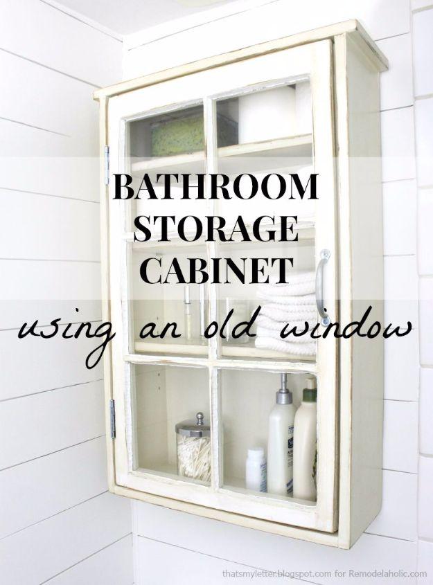 DIY Ideas With Old Windows - Bathroom Storage Cabinet - Rustic Farmhouse Decor Tutorials and Projects Made With An Old Window - Easy Vintage Shelving, Coffee Table, Towel Hook, Wall Art, Picture Frames and Home Decor for Kitchen, Living Room and Bathroom - Creative Country Crafts, Seating, Furniture, Patio Decor and Rustic Wall Art and Accessories to Make and Sell http://diyjoy.com/diy-projects-old-windows