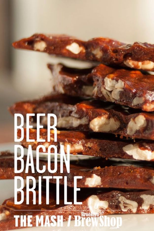 Best Recipes Made With Beer - Beer And Bacon Brittle - Easy Dinner, Lunch and Snack Recipe Ideas Made With Beer - Food for the Slow Cooker and Crockpot, Meat and Chicken Dishes, Appetizers, Homemade Pretzels, Summer BBQ Sauces and PArty Food Ideas
