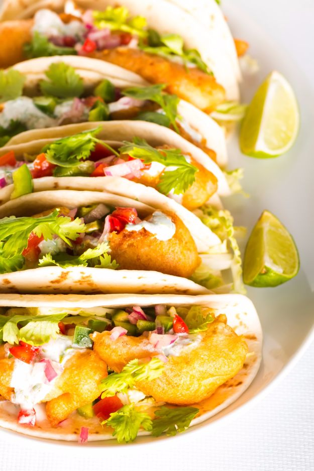 Best Recipes Made With Beer - Beer Battered Fish Tacos - Easy Dinner, Lunch and Snack Recipe Ideas Made With Beer - Food for the Slow Cooker and Crockpot, Meat and Chicken Dishes, Appetizers, Homemade Pretzels, Summer BBQ Sauces and PArty Food Ideas http://diyjoy.com/best-recipes-made-with-beer
