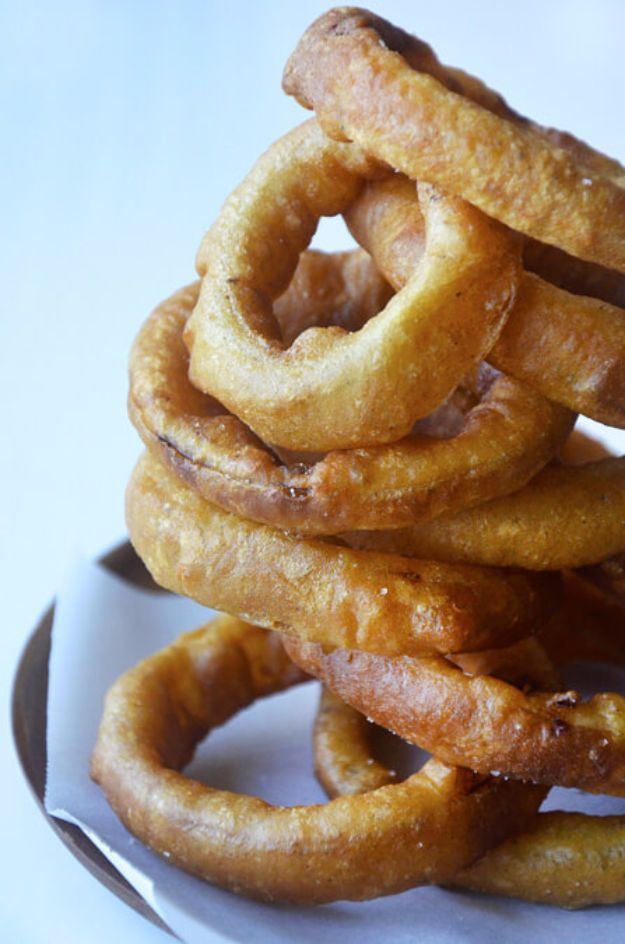 Best Recipes Made With Beer - Beer-Battered Onion Rings - Easy Dinner, Lunch and Snack Recipe Ideas Made With Beer - Food for the Slow Cooker and Crockpot, Meat and Chicken Dishes, Appetizers, Homemade Pretzels, Summer BBQ Sauces and PArty Food Ideas