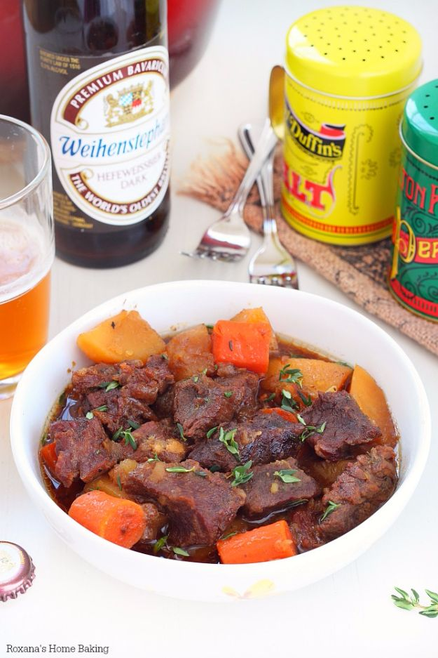 Best Recipes Made With Beer - Beer Braised Beef With Carrots And Potatoes - Easy Dinner, Lunch and Snack Recipe Ideas Made With Beer - Food for the Slow Cooker and Crockpot, Meat and Chicken Dishes, Appetizers, Homemade Pretzels, Summer BBQ Sauces and PArty Food Ideas http://diyjoy.com/best-recipes-made-with-beer