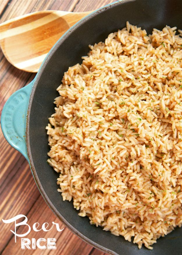 Best Recipes Made With Beer - Beer Rice - Easy Dinner, Lunch and Snack Recipe Ideas Made With Beer - Food for the Slow Cooker and Crockpot, Meat and Chicken Dishes, Appetizers, Homemade Pretzels, Summer BBQ Sauces and PArty Food Ideas http://diyjoy.com/best-recipes-made-with-beer