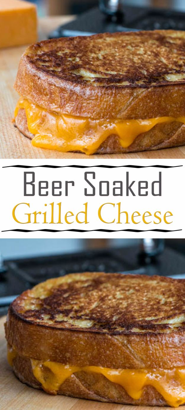 Best Recipes Made With Beer - Beer Soaked Grilled Cheese - Easy Dinner, Lunch and Snack Recipe Ideas Made With Beer - Food for the Slow Cooker and Crockpot, Meat and Chicken Dishes, Appetizers, Homemade Pretzels, Summer BBQ Sauces and PArty Food Ideas http://diyjoy.com/best-recipes-made-with-beer