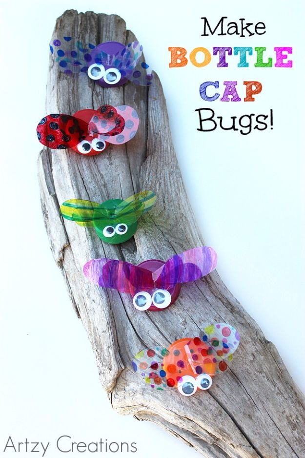 DIY Ideas for Kids To Make This Summer - Bottle Cap Bugs - Fun Crafts and Cool Projects for Boys and Girls To Make at Home - Easy and Cheap Do It Yourself Project Ideas With Paint, Glue, Paper, Glitter, Chalk and Things You Can Find Around The House - Creative Arts and Crafts Ideas for Children http://diyjoy.com/diy-ideas-kids-summer