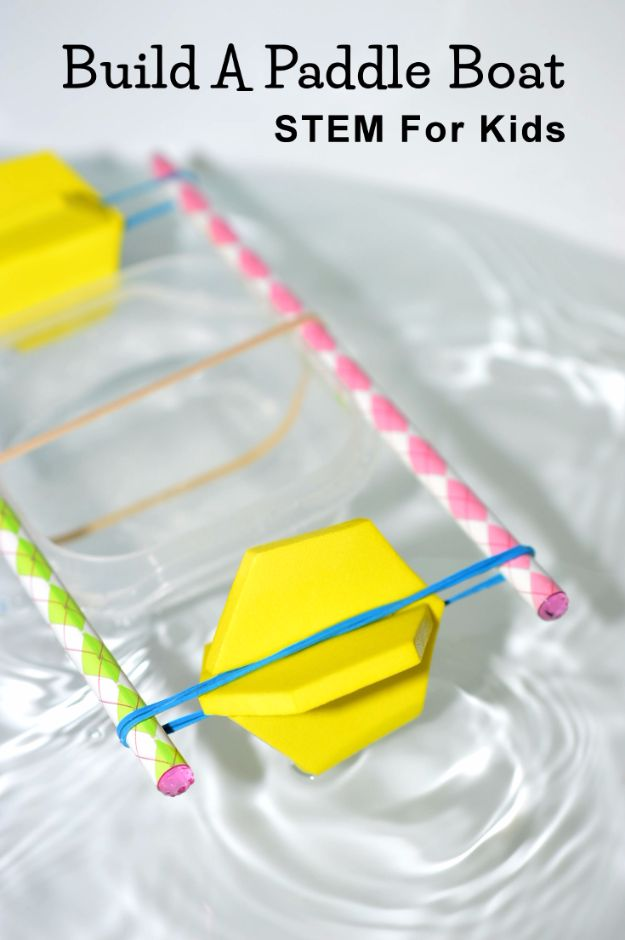 STEM CRAFTS and science projects for Kids and Teens - Build A Paddle Boat - Fun and Easy Do It Yourself Projects and Crafts Using Math, Electronics, Engineering Concepts and Basic Building Skills - Creatve and Cool Project Tutorials For Kids To Make At Home This Summer - Boys, Girls and Teenagers Have Fun Making Room Decor, Experiments and Playtime STEM Fun #stem #diyideas #stemideas #kidscrafts