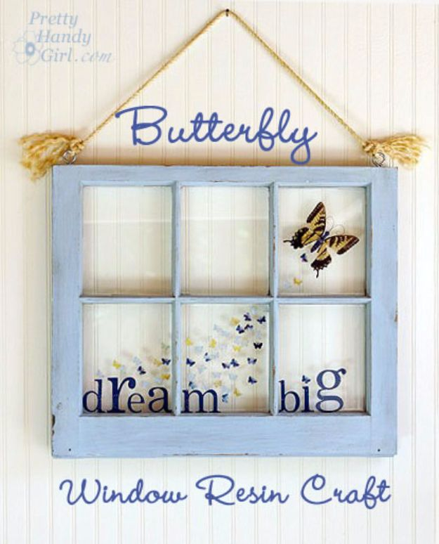 DIY Ideas With Old Windows - Butterfly Window Resin Craft - Rustic Farmhouse Decor Tutorials and Projects Made With An Old Window - Easy Vintage Shelving, Coffee Table, Towel Hook, Wall Art, Picture Frames and Home Decor for Kitchen, Living Room and Bathroom - Creative Country Crafts, Seating, Furniture, Patio Decor and Rustic Wall Art and Accessories to Make and Sell http://diyjoy.com/diy-projects-old-windows