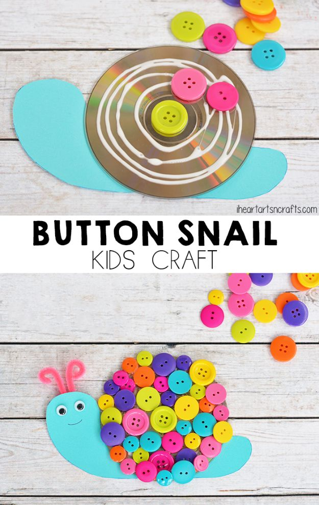 DIY Ideas for Kids To Make This Summer - Button Snail Craft For Kids - Fun Crafts and Cool Projects for Boys and Girls To Make at Home - Easy and Cheap Do It Yourself Project Ideas With Paint, Glue, Paper, Glitter, Chalk and Things You Can Find Around The House - Creative Arts and Crafts Ideas for Children #summer #kidscrafts