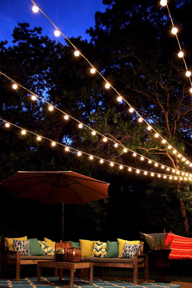 DIY Backyard Party Decor - Canopy Of String Lights - Cool Ideas for Decorations for Parties - Easy and Cheap Crafts for Summer Barbecues and Family Get Togethers, Swimming and Pool Party Fun - Step by Step Tutorials For Banners, Table Decor, Serving Ideas and Mason Jar Crafts http://diyjoy.com/diy-backyard-party-decor