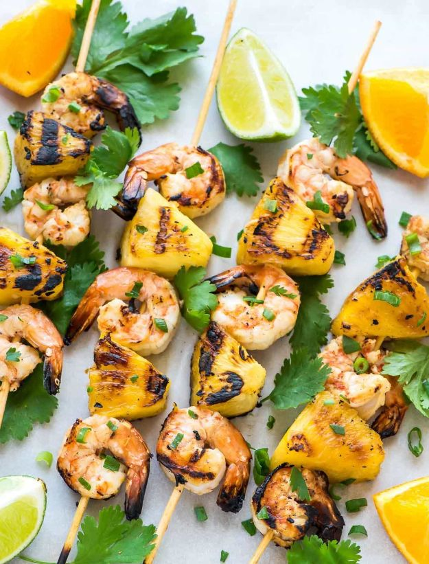 Best Recipe Ideas for Summer - Coconut Pineapple Shrimp Skewers - Cool Salads, Easy Side Dishes, Recipes for Summer Foods and Dinner to Beat the Heat - Light and Healthy Ideas for Hot Summer Nights, Pool Parties and Picnics http://diyjoy.com/best-recipes-summer