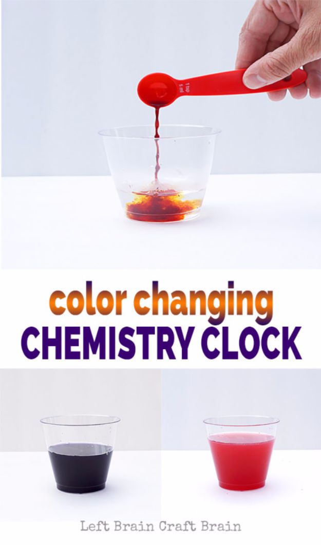 DIY Stem and Science Ideas for Kids and Teens - Color Changing Chemistry Clock - Fun and Easy Do It Yourself Projects and Crafts Using Math, Electronics, Engineering Concepts and Basic Building Skills - Creatve and Cool Project Tutorials For Kids To Make At Home This Summer - Boys, Girls and Teenagers Have Fun Making Room Decor, Experiments and Playtime STEM Fun #stem #diyideas #stemideas #kidscrafts