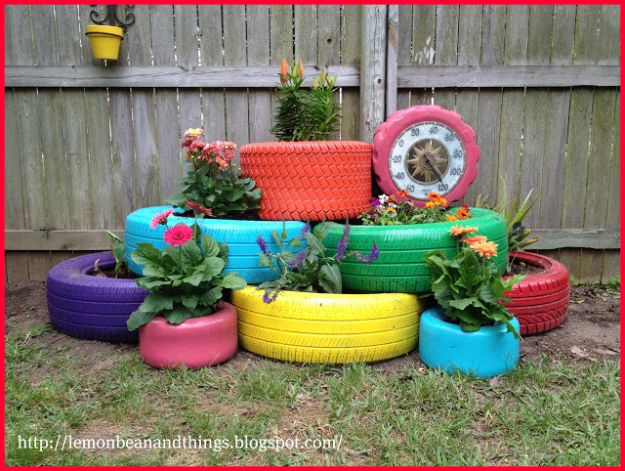 DIY Ideas With Old Tires - Colorful Tire Garden - Rustic Farmhouse Decor Tutorials and Projects Made With An Old Tire - Easy Vintage Shelving, Wall Art, Swing, Ottoman, Seating, Furniture, Gardeing Ideas and Home Decor for Kitchen, Living Room, Bathroom and Backyard - Creative Country Crafts, Rustic Wall Art and Accessories to Make and Sell http://diyjoy.com/diy-projects-old-tires
