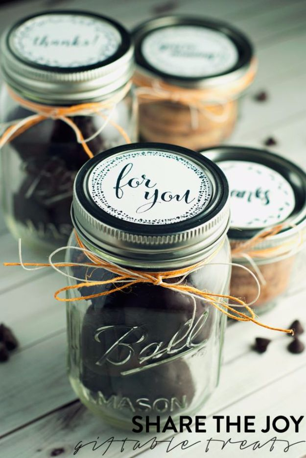 Free Printables for Mason Jars - Cookie Butter Mason Jar Lid Free Printables - Best Ideas for Tags and Printable Clip Art for Fun Mason Jar Gifts and Organization#masonjar #crafts #printables