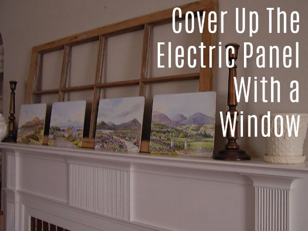 DIY Ideas With Old Windows - Cover Up The Electric Panel With A Window - Rustic Farmhouse Decor Tutorials and Projects Made With An Old Window - Easy Vintage Shelving, Coffee Table, Towel Hook, Wall Art, Picture Frames and Home Decor for Kitchen, Living Room and Bathroom - Creative Country Crafts, Seating, Furniture, Patio Decor and Rustic Wall Art and Accessories to Make and Sell http://diyjoy.com/diy-projects-old-windows