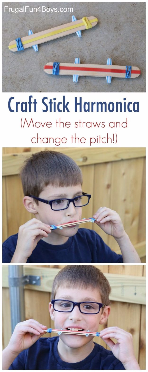 DIY Ideas for Kids To Make This Summer - Craft Stick Harmonica - Fun Crafts and Cool Projects for Boys and Girls To Make at Home - Easy and Cheap Do It Yourself Project Ideas With Paint, Glue, Paper, Glitter, Chalk and Things You Can Find Around The House - Creative Arts and Crafts Ideas for Children #summer #kidscrafts