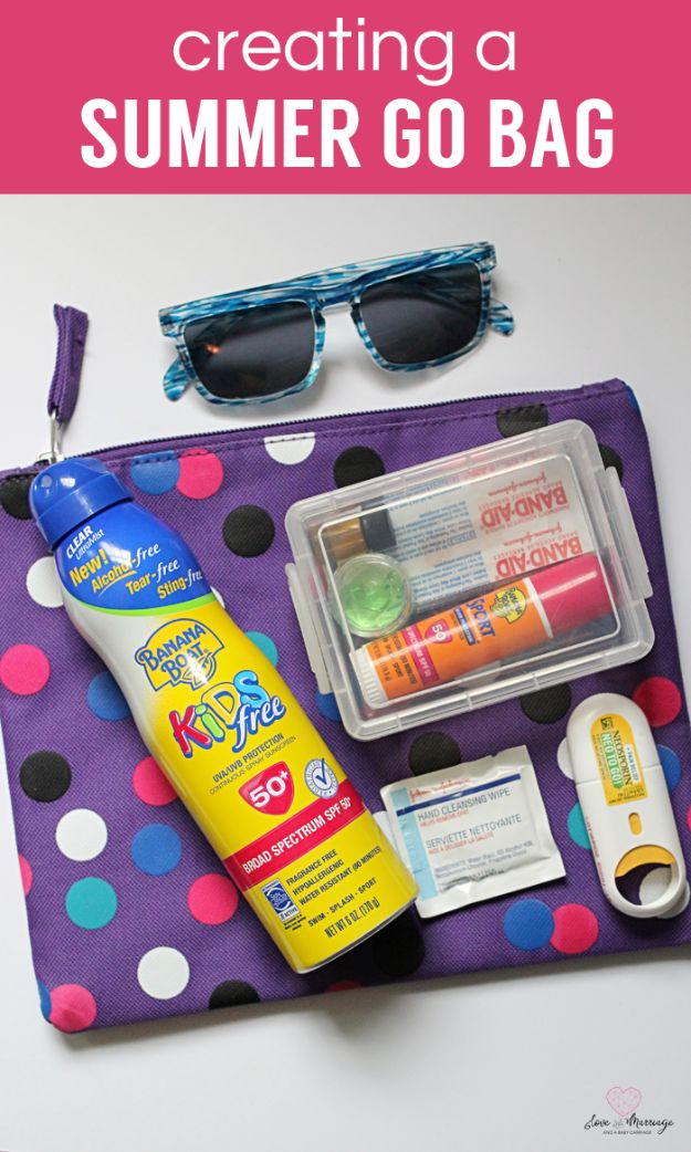DIY Hacks for Summer - Create A Summer Go Bag - Easy Projects to Try This Summer To Get Organized, Spend Time Outdoors, Play With The Kids, Stay Cool In The Heat - Tips and Tricks to Make Summertime Awesome - Crafts and Home Decor by DIY JOY