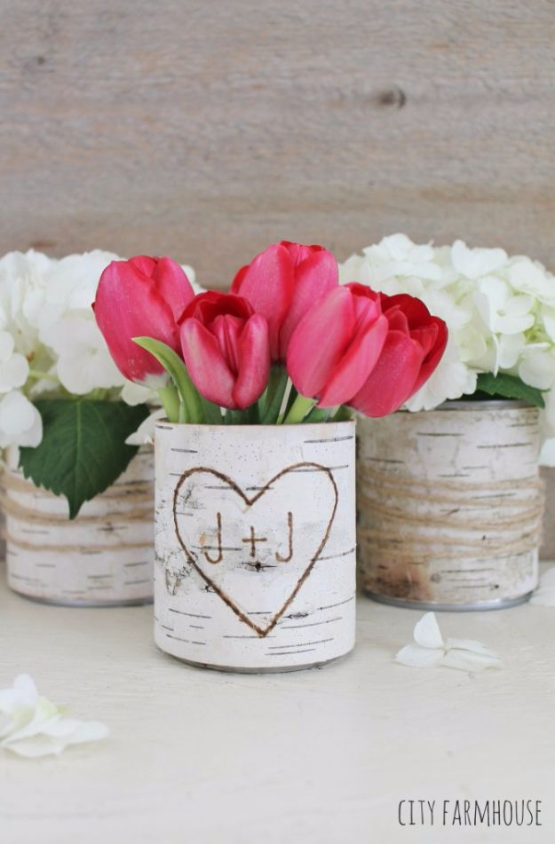 DIY Ideas With Old Tin Cans - DIY Birch Bark Vases - Rustic Farmhouse Decor Tutorials and Projects Made With An Old Tin Can - Easy Vintage Shelving, Wall Art, Picture Frames and Home Decor for Kitchen, Living Room and Bathroom - Creative Country Crafts, Craft Room Storage, Silverware Holder, Rustic Wall Art and Accessories to Make and Sell