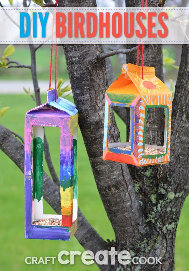 DIY Ideas for Kids To Make This Summer - DIY Birdhouses - Fun Crafts and Cool Projects for Boys and Girls To Make at Home - Easy and Cheap Do It Yourself Project Ideas With Paint, Glue, Paper, Glitter, Chalk and Things You Can Find Around The House - Creative Arts and Crafts Ideas for Children #summer #kidscrafts