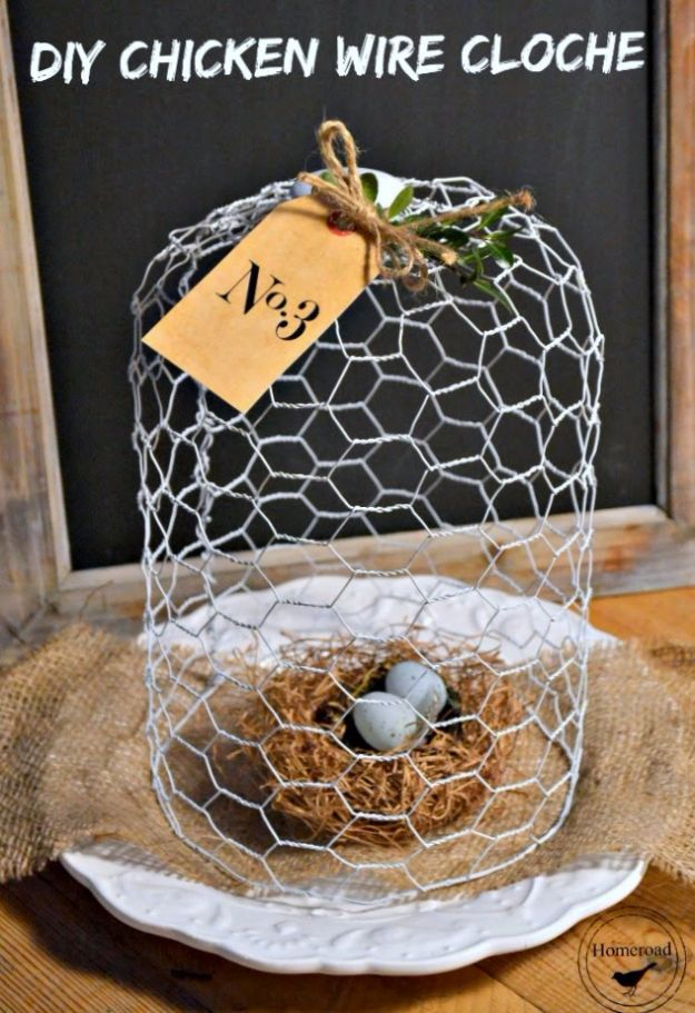diy ideas chicken wire crafts -DIY Chicken Wire Cloche - Rustic Farmhouse Decor Tutorials With Chickenwire and Easy Vintage Shabby Chic Home Decor for Kitchen, Living Room and Bathroom - Creative Country Crafts #diy #crafts