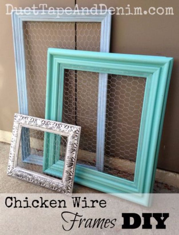 Best DIY Ideas With Chicken Wire - DIY Chicken Wire Frames - Rustic Farmhouse Decor Tutorials With Chickenwire and Easy Vintage Shabby Chic Home Decor for Kitchen, Living Room and Bathroom - Creative Country Crafts, Furniture, Patio Decor and Rustic Wall Art and Accessories to Make and Sell http://diyjoy.com/diy-projects-chicken-wire