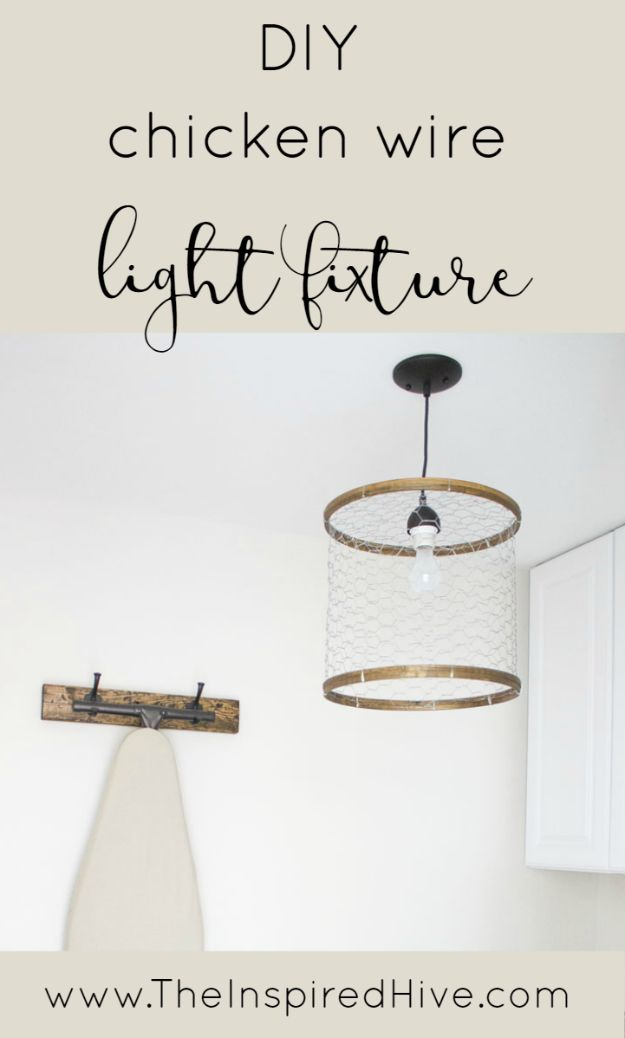 diy ideas chicken wire crafts -DIY Chicken Wire Light Fixture - Rustic Farmhouse Decor Tutorials With Chickenwire and Easy Vintage Shabby Chic Home Decor for Kitchen, Living Room and Bathroom - Creative Country Crafts #diy #crafts