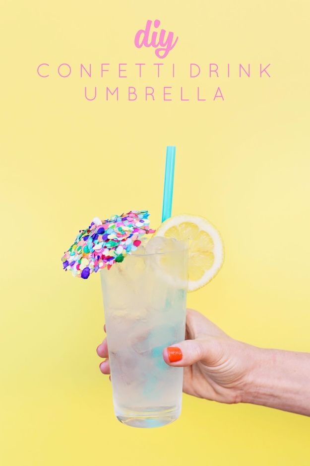 DIY Backyard Party Decor - DIY Confetti Drink Umbrella - Cool Ideas for Decorations for Parties - Easy and Cheap Crafts for Summer Barbecues and Family Get Togethers, Swimming and Pool Party Fun - Step by Step Tutorials For Banners, Table Decor, Serving Ideas and Mason Jar Crafts http://diyjoy.com/diy-backyard-party-decor
