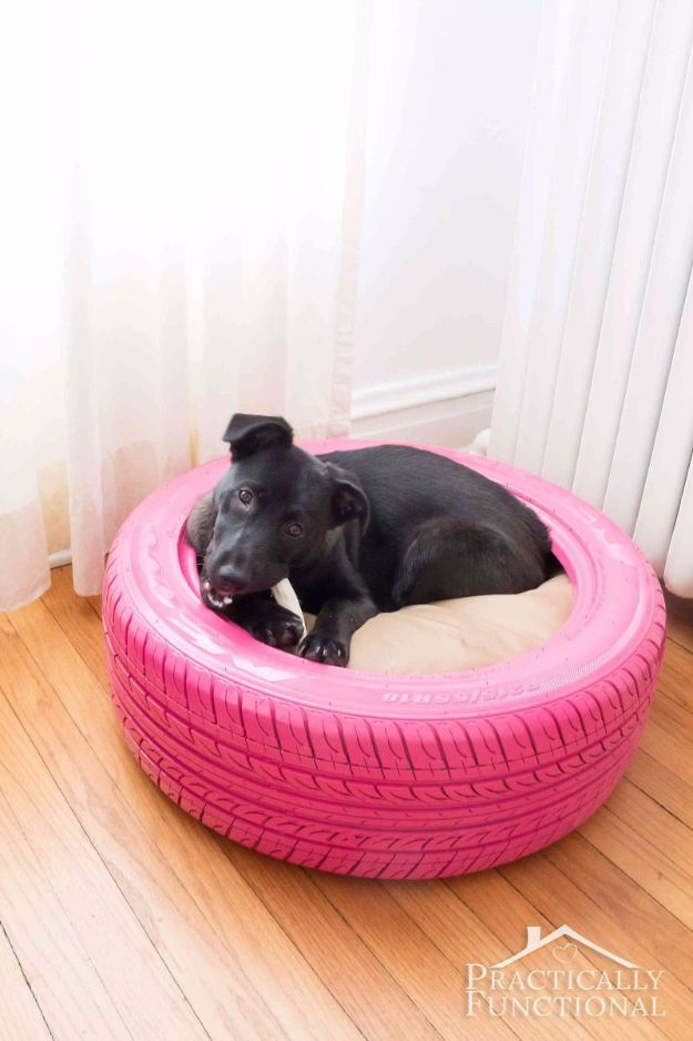 DIY Ideas With Old Tires - DIY Dog Bed From A Recycled Tire - Rustic Farmhouse Decor Tutorials and Projects Made With An Old Tire - Easy Vintage Shelving, Wall Art, Swing, Ottoman, Seating, Furniture, Gardeing Ideas and Home Decor for Kitchen, Living Room, Bathroom and Backyard - Creative Country Crafts, Rustic Wall Art and Accessories to Make and Sell