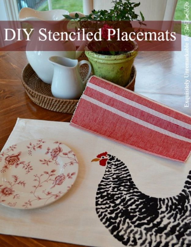 DIY Stencil Ideas - DIY Fabric Paint Stenciled Placemats - Cool and Easy Stenciling Tutorials For Making Handmade Wallpaper and Designs, Furniture Makeover Ideas and Crafty Modern Decor With Stencils - Rustic Farmhouse Paint Techniques and Step by Step Instructions for Using Stencil Art in Your Living Room, Bedroom, Bathroom and Crafts http://diyjoy.com/diy-stencil-ideas-projects