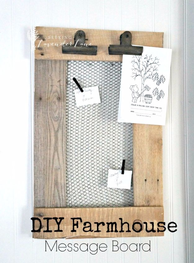 chicken wire crafts -DIY Farmhouse Message Board - Rustic Farmhouse Decor Tutorials With Chickenwire and Easy Vintage Shabby Chic Home Decor for Kitchen, Living Room and Bathroom - Creative Country Crafts