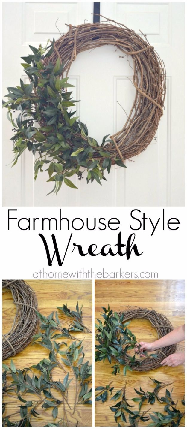 Best Country Decor Ideas - DIY Farmhouse Style Wreath - Rustic Farmhouse Decor Tutorials and Easy Vintage Shabby Chic Home Decor for Kitchen, Living Room and Bathroom - Creative Country Crafts, Rustic Wall Art and Accessories to Make and Sell http://diyjoy.com/country-decor-ideas