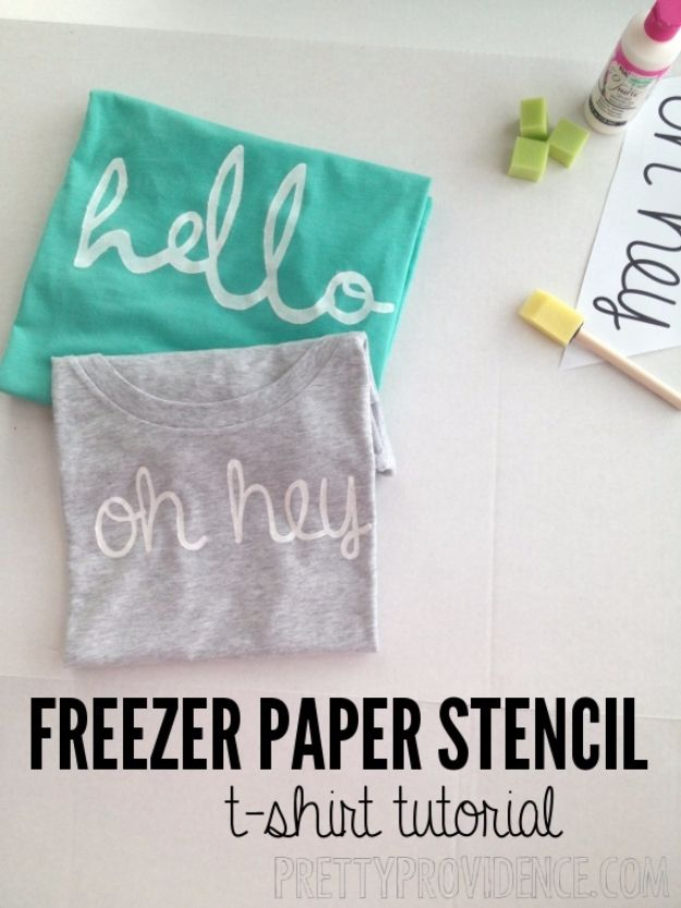 DIY Stencil Ideas - DIY Freezer Paper Stencil Shirt - Cool and Easy Stenciling Tutorials For Making Handmade Wallpaper and Designs, Furniture Makeover Ideas and Crafty Modern Decor With Stencils - Rustic Farmhouse Paint Techniques and Step by Step Instructions for Using Stencil Art in Your Living Room, Bedroom, Bathroom and Crafts