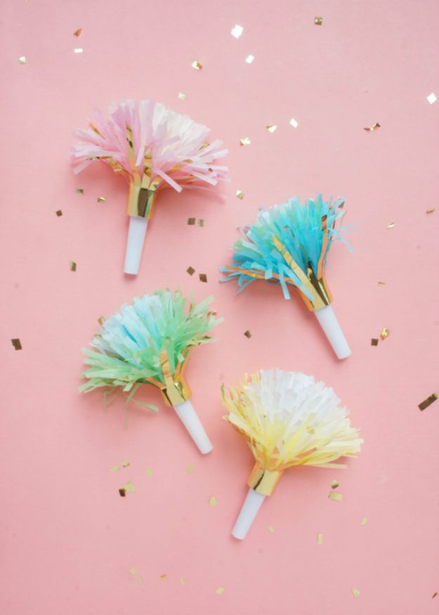 DIY Backyard Party Decor - DIY Fringed Party Horns - Cool Ideas for Decorations for Parties - Easy and Cheap Crafts for Summer Barbecues and Family Get Togethers, Swimming and Pool Party Fun - Step by Step Tutorials For Banners, Table Decor, Serving Ideas and Mason Jar Crafts http://diyjoy.com/diy-backyard-party-decor