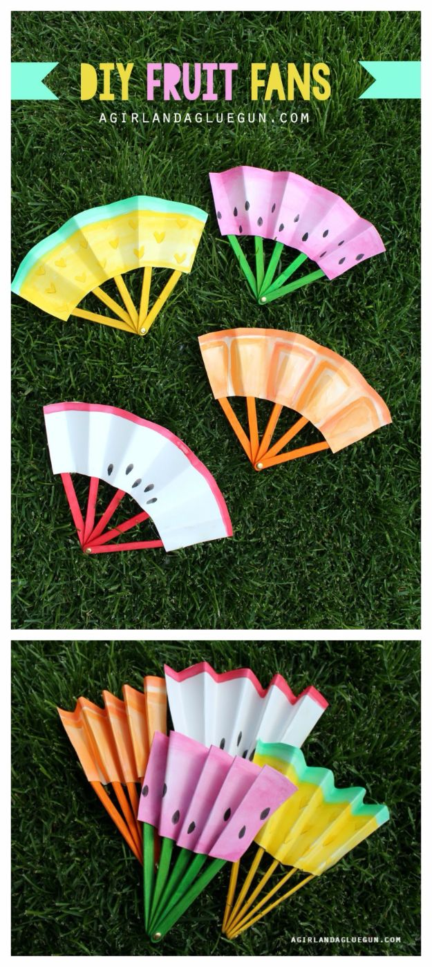 DIY Ideas for Kids To Make This Summer - DIY Fruit Fans - Fun Crafts and Cool Projects for Boys and Girls To Make at Home - Easy and Cheap Do It Yourself Project Ideas With Paint, Glue, Paper, Glitter, Chalk and Things You Can Find Around The House - Creative Arts and Crafts Ideas for Children #summer #kidscrafts