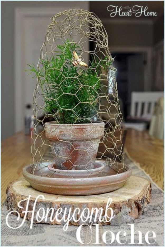 diy ideas chicken wire crafts -DIY Honeycomb Cloche - Rustic Farmhouse Decor Tutorials With Chickenwire and Easy Vintage Shabby Chic Home Decor for Kitchen, Living Room and Bathroom - Creative Country Crafts #diy #crafts