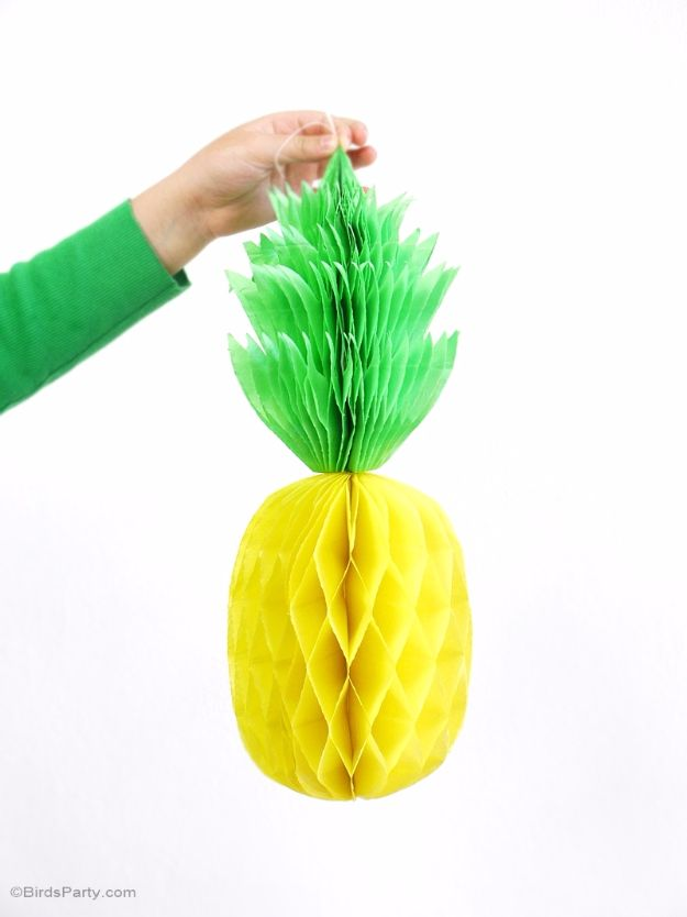 DIY Backyard Party Decor - DIY Honeycomb Pineapple Party Decor - Cool Ideas for Decorations for Parties - Easy and Cheap Crafts for Summer Barbecues and Family Get Togethers, Swimming and Pool Party Fun - Step by Step Tutorials For Banners, Table Decor, Serving Ideas and Mason Jar Crafts r