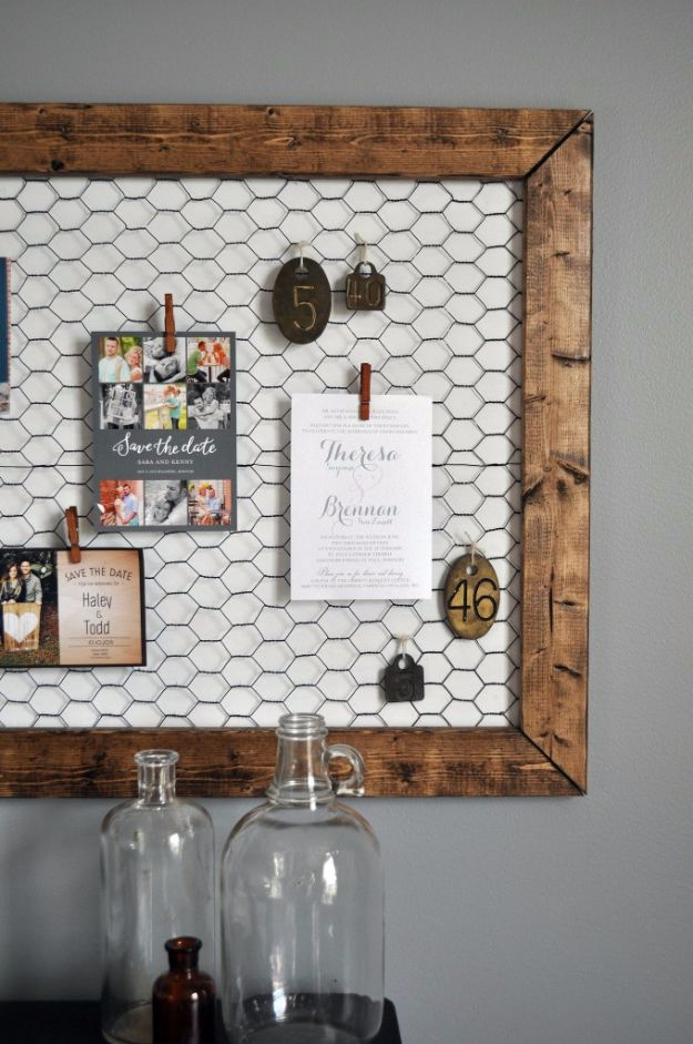diy ideas chicken wire crafts -DIY Office Memo Board - Rustic Farmhouse Decor Tutorials With Chickenwire and Easy Vintage Shabby Chic Home Decor for Kitchen, Living Room and Bathroom - Creative Country Crafts #diy #crafts