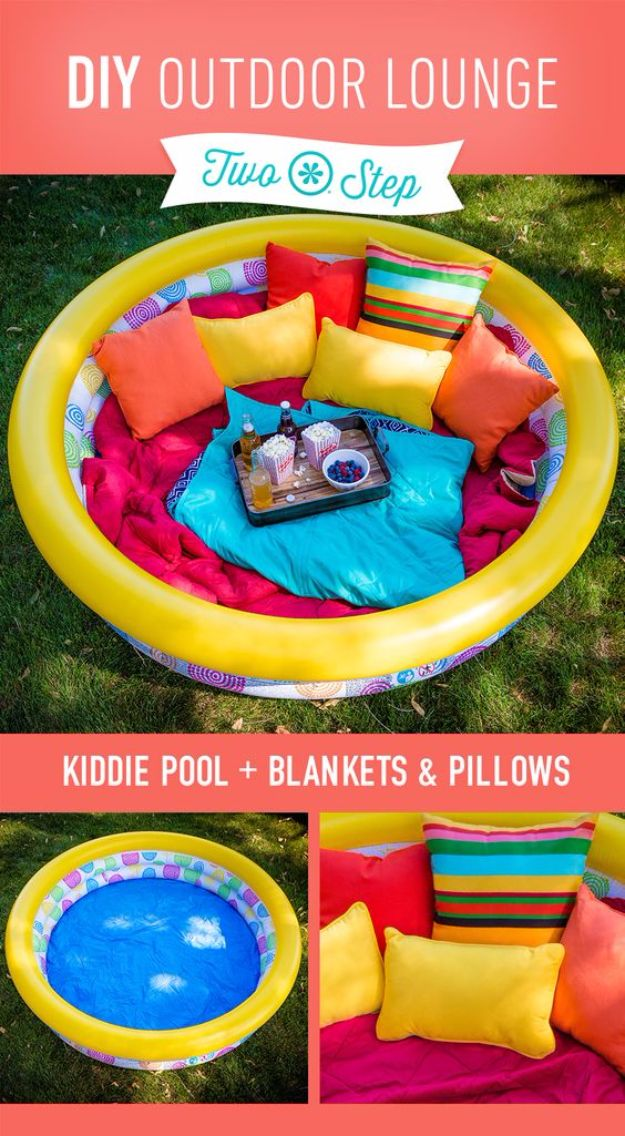 DIY Hacks for Summer - DIY Outdoor Lounge - Easy Projects to Try This Summer To Get Organized, Spend Time Outdoors, Play With The Kids, Stay Cool In The Heat - Tips and Tricks to Make Summertime Awesome - Crafts and Home Decor by DIY JOY