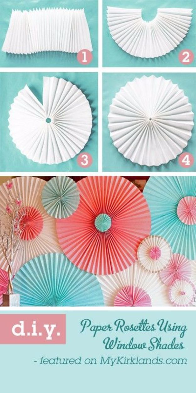 DIY Backyard Party Decor - DIY Paper Rosettes - Cool Ideas for Decorations for Parties - Easy and Cheap Crafts for Summer Barbecues and Family Get Togethers, Swimming and Pool Party Fun - Step by Step Tutorials For Banners, Table Decor, Serving Ideas and Mason Jar Crafts http://diyjoy.com/diy-backyard-party-decor