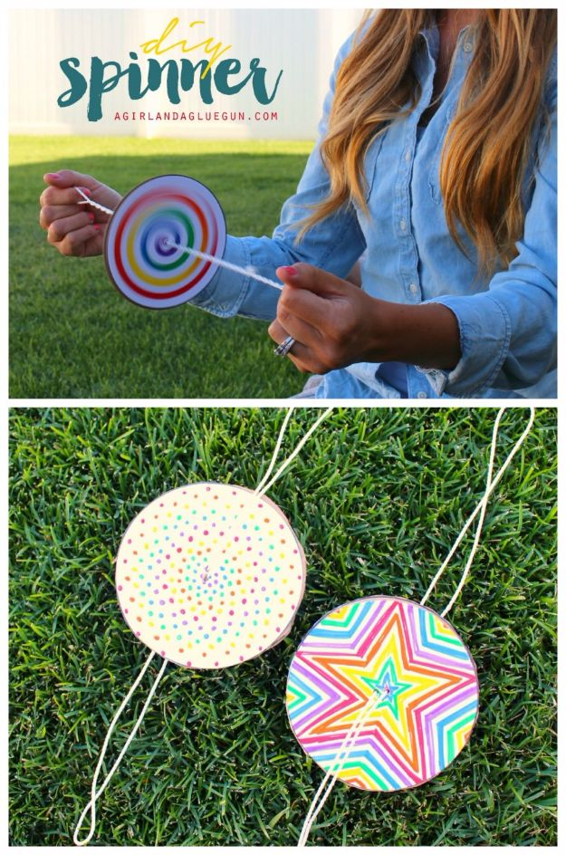 DIY Ideas for Kids To Make This Summer - DIY Paper Spinner - Fun Crafts and Cool Projects for Boys and Girls To Make at Home - Easy and Cheap Do It Yourself Project Ideas With Paint, Glue, Paper, Glitter, Chalk and Things You Can Find Around The House - Creative Arts and Crafts Ideas for Children #summer #kidscrafts