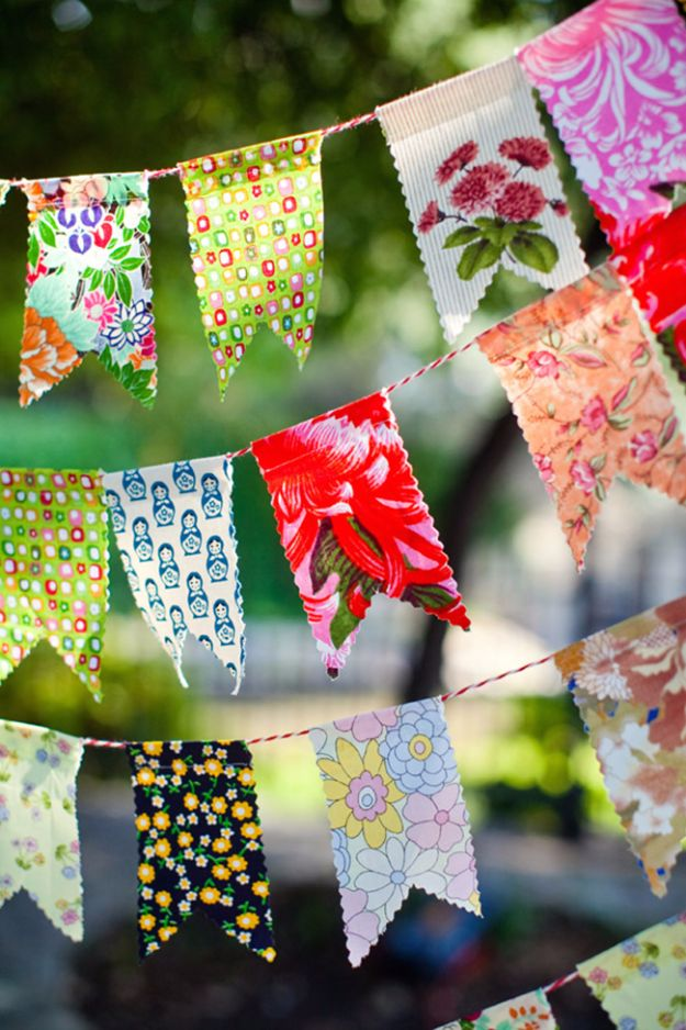 Best Quilting and Fabric Scraps Projects - DIY Party Banner - Easy Ideas for Making DIY Home Decor, Homemade Gifts, Wall Art , Kitchen Accessories, Clothes and Fashion from Leftover Fabric Scrap and Quilt Pieces - Cute Do It Yourself Ideas for Birthday, Christmas, Baby and Friends http://diyjoy.com/quilting-scraps-projects
